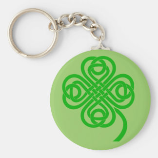 Celtic Knot four leaf clover Basic Round Button Keychain