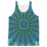 Celtic Knot Fractal Mandala Teal and Blue Tank Top