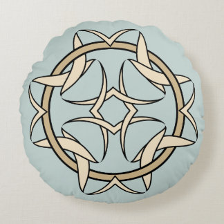 Celtic Knot Graphic in Cream and Black Round Pillow