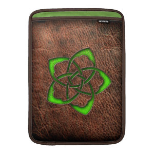 Celtic knot green flower on leather sleeves for MacBook air