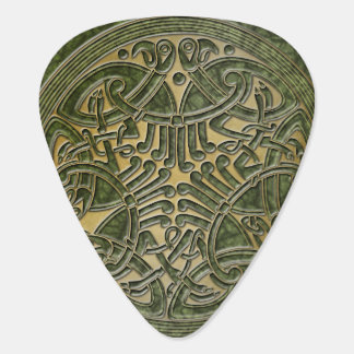Celtic Knot Green & Gold Birds -Guitar Pic Guitar Pick