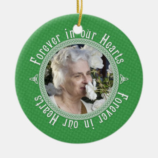 Celtic Knot Green Irish Memorial Photo Christmas Ceramic Ornament