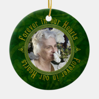 Celtic Knot Green Memorial Photo Christmas Ceramic Ornament