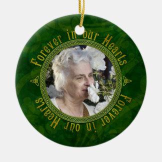 Celtic Knot Green Memorial Photo Christmas Ceramic Ornament