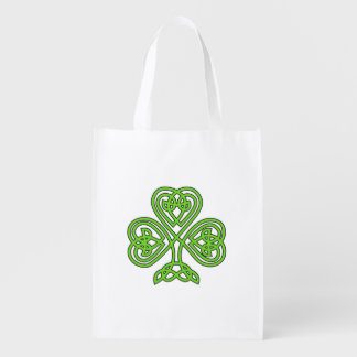Celtic Knot Green Shamrock Grocery Bag