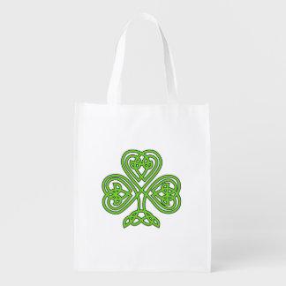 Celtic Knot Green Shamrock Reusable Grocery Bag