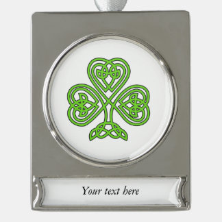Celtic Knot Green Shamrock Silver Plated Banner Ornament