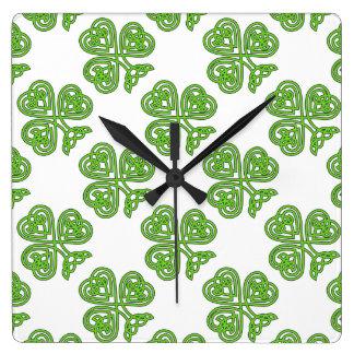 Celtic Knot Green Shamrock Square Wall Clock