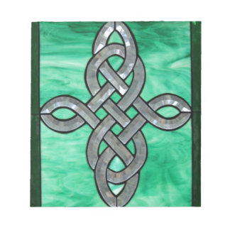 celtic knot green silver stained Glass Notepad