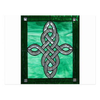 celtic knot green silver stained Glass Postcard