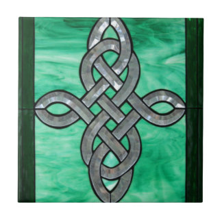 celtic knot green silver stained Glass Small Square Tile