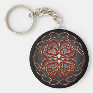 Celtic knot Hearts Basic Round Button Keychain