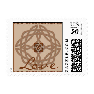Celtic Knot in Cream and Rust Love Postage Stamp