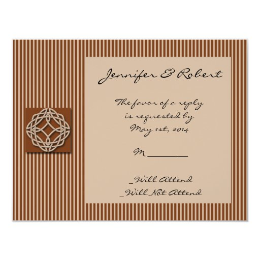 "Celtic Knot in Cream and Rust Response Card 4.25"" X 5.5"" Invitation Card"
