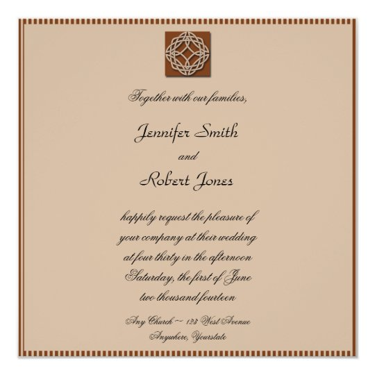 Celtic Knot in Cream and Rust Wedding Invitation