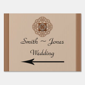 Celtic Knot in Cream Rust Wedding Direction Sign