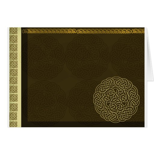 Celtic knot in dark brown with gold accent card