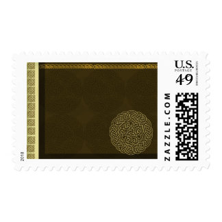 Celtic knot in dark brown with gold accent postage stamp