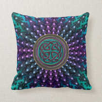 Celtic Knot in Fractal Mandala Throw Pillow