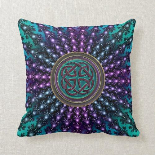 Celtic Knot in Fractal Mandala Throw Pillow