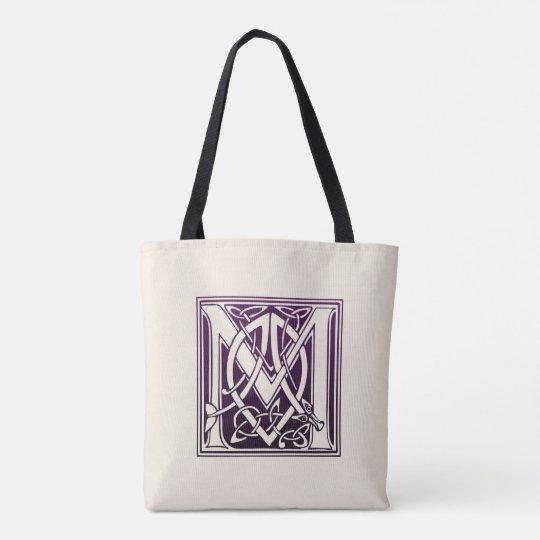 celtic knot initial m purple tote bag zazzle com