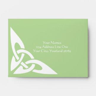 Celtic Knot Initials - RSVP Envelope Green
