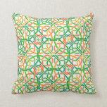 Celtic Knot Irish Braid Pattern Colorful Stencil Throw Pillow