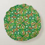 Celtic Knot Irish Braid Pattern Green Pretty Round Pillow