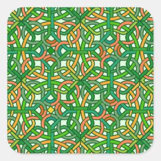 Celtic Knot Irish Braid Pattern Green Pretty Square Sticker
