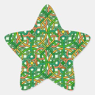 Celtic Knot Irish Braid Pattern Green Pretty Star Sticker
