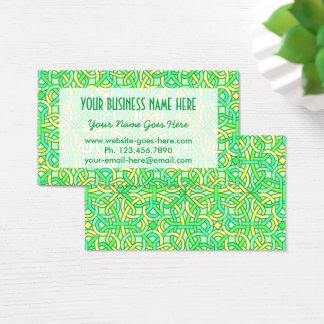 Celtic Knot Irish Braid Pattern Green Yellow Business Card