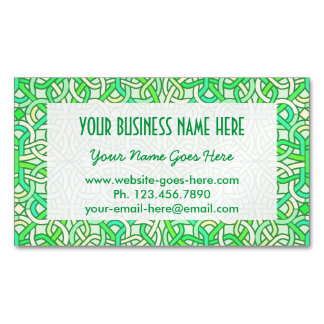 Celtic Knot Irish Braid Pattern Green Yellow Business Card Magnet