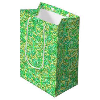 Celtic Knot Irish Braid Pattern Green Yellow Medium Gift Bag