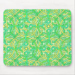 Celtic Knot Irish Braid Pattern Green Yellow Mouse Pad