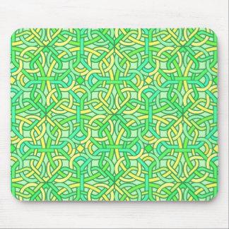 Celtic Knot Irish Braid Pattern Green Yellow Mouse Pad