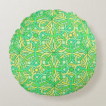 Celtic Knot Irish Braid Pattern Green Yellow Round Pillow