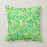 Celtic Knot Irish Braid Pattern Green Yellow Throw Pillow