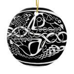 Celtic Knot Kangaroo Black and White Ceramic Ornament
