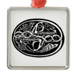 Celtic Knot Kangaroo Black and White Metal Ornament