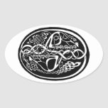 Celtic Knot Kangaroo Black and White Oval Sticker