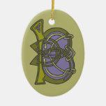 Celtic Knot letter initial monogram B Christmas Tree Ornament