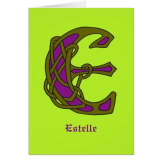 Celtic Knot letter initial monogram E Card