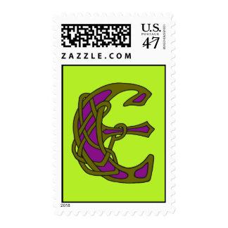 Celtic Knot letter initial monogram E Postage