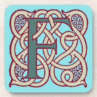 Celtic Knot letter initial monogram F Coaster