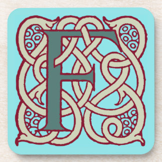 Celtic Knot letter initial monogram F Beverage Coasters