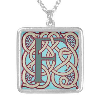 Celtic Knot letter initial monogram F Necklace
