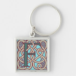 Celtic Knot letter initial monogram F Silver-Colored Square Keychain