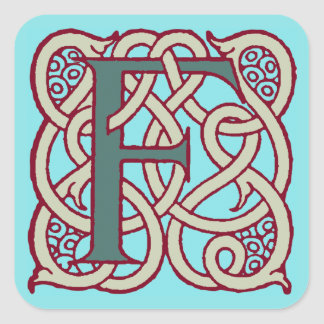Celtic Knot letter initial monogram F Square Sticker