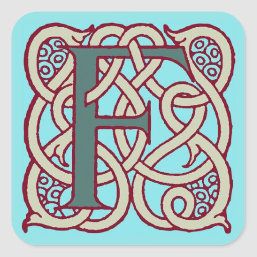 Celtic Knot letter initial monogram F Stickers