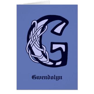 Celtic Knot letter initial monogram G Card